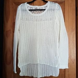 Off White long crochet sweater size large
